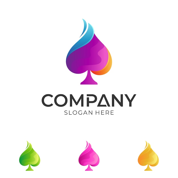 Disegno logo colorato vanga Vettore Premium