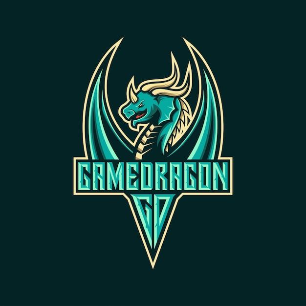 Disegno logo drago per esports Vettore Premium