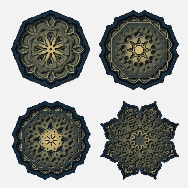 Disegno mandala ornamento, decorazione taglio laser Vettore Premium