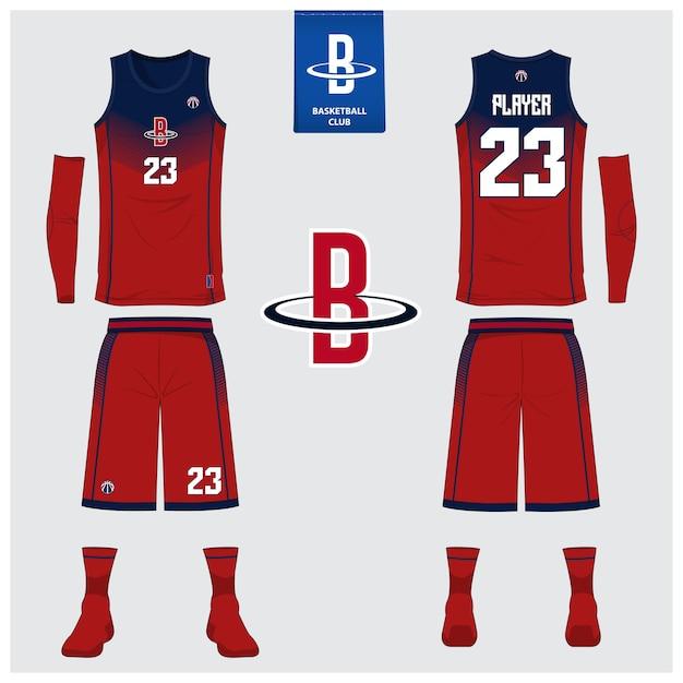 Disegno modello uniforme di pallacanestro. Vettore Premium