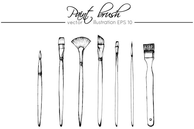 Disegno pennello Vettore Premium