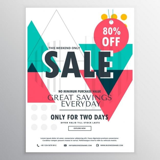 Disegno promozionale manifesto vendita volantino astratto con forme geometriche colorate Vettore gratuito