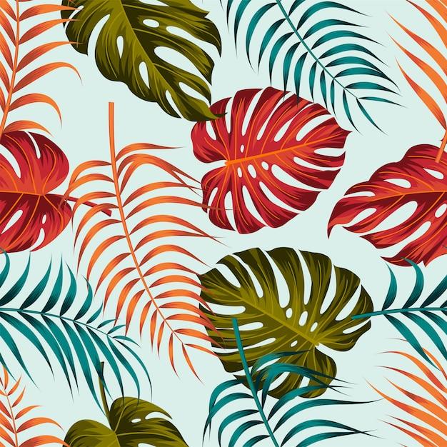 Disegno senza cuciture del modello delle foglie tropicali Vettore Premium