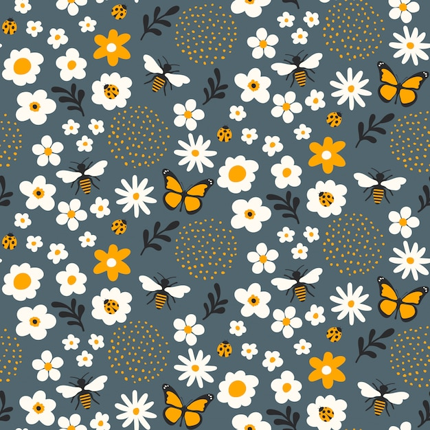 Disegno senza cuciture del modello floreale con le api e gli insetti Vettore Premium