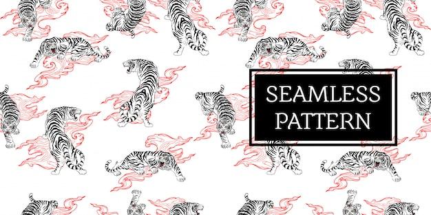 Disegno senza cuciture tigre tatuaggio stile giappone nero bianco rosso Vettore Premium