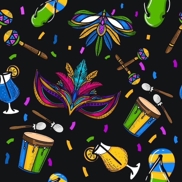 Disegno senza giunte di illustrazione del festival del brasile del disegno della mano Vettore Premium