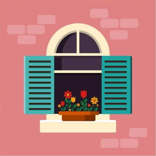 Disegno sfondo della finestra Vettore gratuito