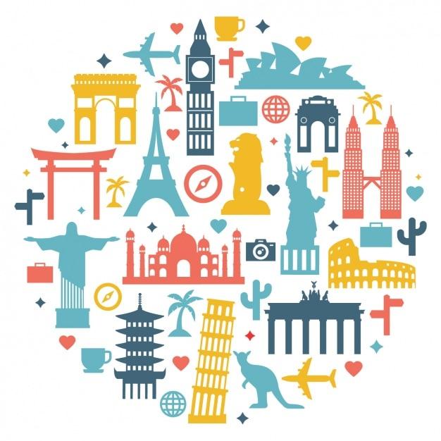 Disegno sfondo di viaggio Vettore gratuito