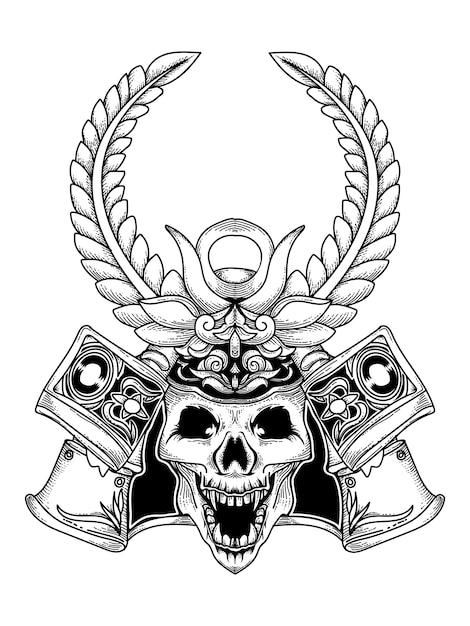 Disegno tatuaggio e maglietta teschio samurai premium Vettore Premium