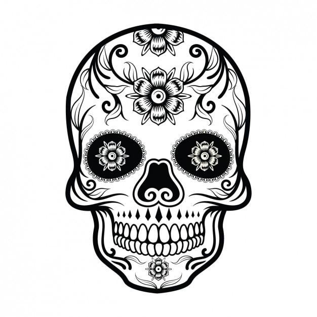 Disegno teschio messicano Vettore gratuito