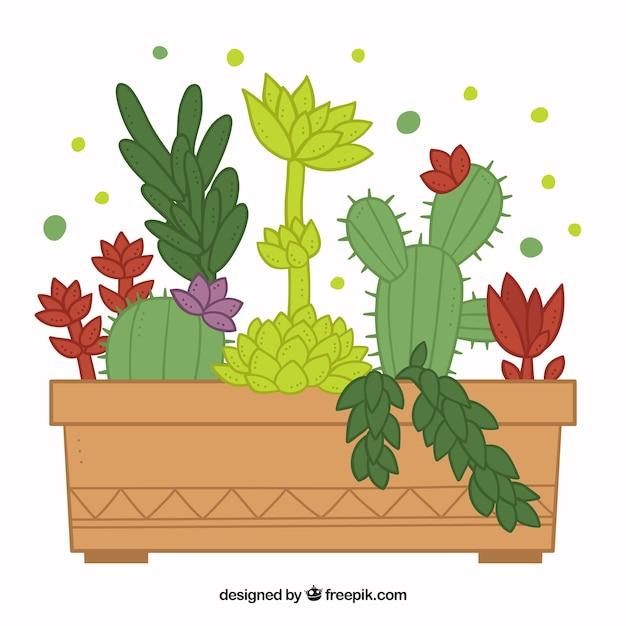 Disegno vaso di fiori cactus scaricare vettori premium for Vaso di fiori disegno