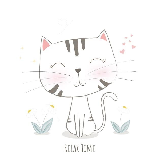 Disegno vettoriale carino gatto. Vettore Premium