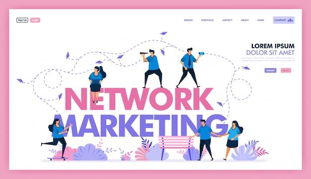 Disegno vettoriale della rete di marketing per lo scambio di informazioni e la vendita di prodotti Vettore Premium