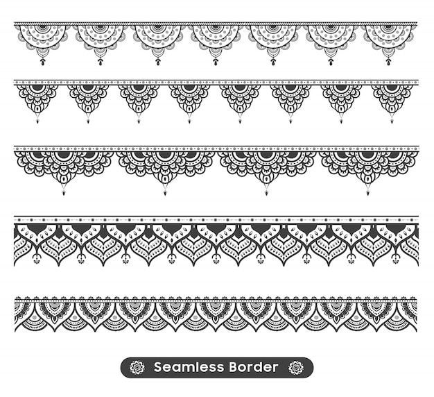 Disegno vettoriale di confine etnico mandala Vettore Premium