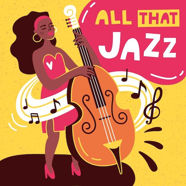 Disegno vettoriale di poster jazz Vettore Premium