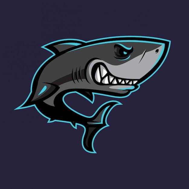 Disegno vettoriale di squalo mascotte Vettore Premium