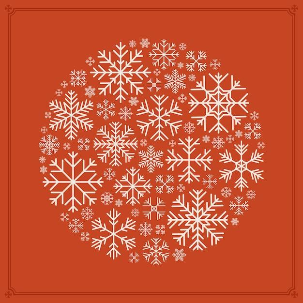 Disegno vettoriale rotondo decorazione fatta di fiocchi di neve Vettore Premium
