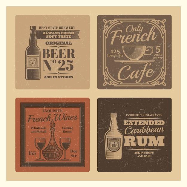 Disegno vettoriale vintage per caffetteria, bar, ristorante Vettore Premium