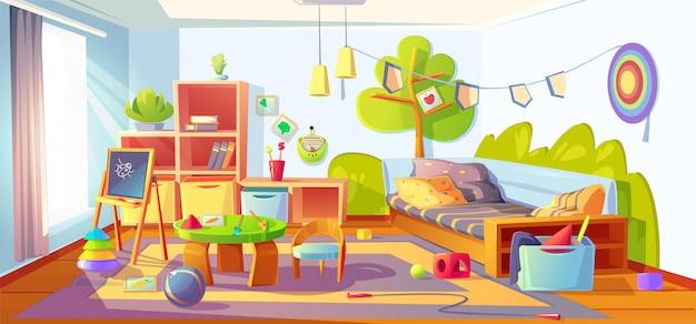 Disordine nella stanza dei bambini, interno disordinato della camera da letto del bambino Vettore gratuito