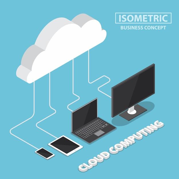 Dispositivi elettronici isometrici che si collegano con il cloud Vettore Premium