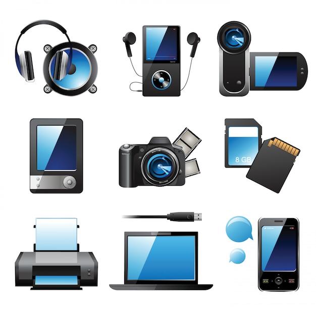 Dispositivi elettronici Vettore Premium