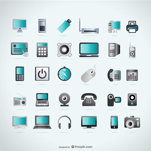 Dispositivi icone di tecnologia Vettore gratuito