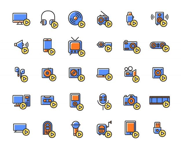 Dispositivi multimediali e lettori riempiti set di icone di contorno. Vettore Premium