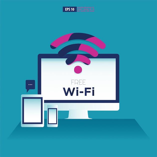 Dispositivi per computer, tablet e smartphone con il simbolo wifi gratuito. Vettore Premium