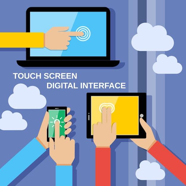 Dispositivi touch screen sfondo Vettore gratuito