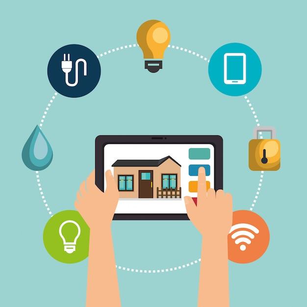 Dispositivo tablet che controlla casa intelligente Vettore gratuito