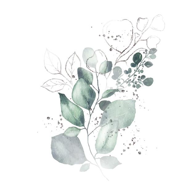 Disposizione dell'acquerello con il mazzo delle erbe d'argento delle foglie verdi isolato Vettore gratuito