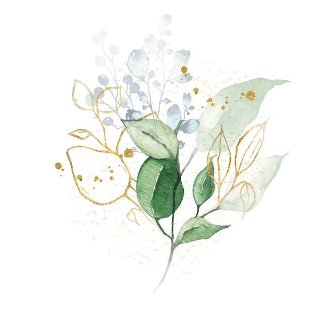Disposizione dell'acquerello con il mazzo dorato delle erbe delle foglie verdi Vettore gratuito