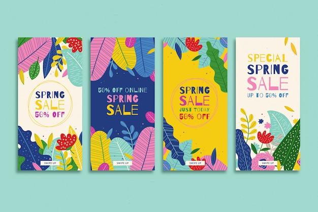Disposizione della collezione di storie colorate di instagram floreali Vettore gratuito