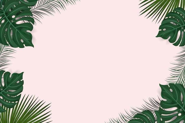 Disposizione della struttura creativa da fondo tropicale con le foglie di palma e le piante esotiche isolate su fondo rosa, disposizione piana. concetto di natura Vettore Premium