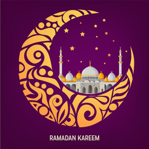 Disposizione di cartolina d'auguri di vettore di ramadan kareem con la moschea, i minareti, le lampade brillanti arabe e la decorazione ornamentale. Vettore Premium
