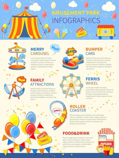 Disposizione di infographics potenziale parco divertimenti Vettore gratuito