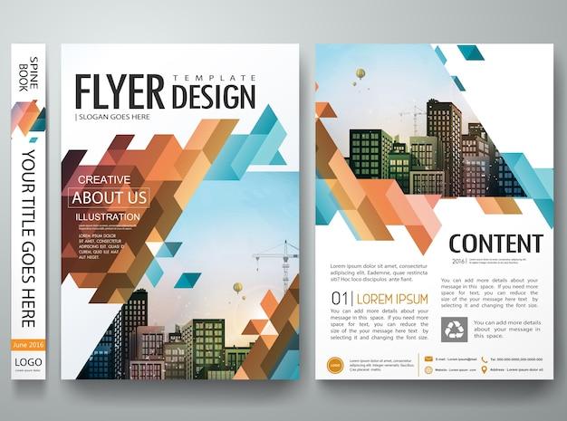 Disposizione di progettazione di presentazione del portafoglio del libro della copertura del triangolo astratto. Vettore Premium