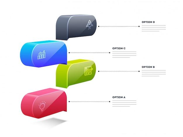 Disposizione di scatola elemento colorato infographic 3d con modello 4 passaggi Vettore Premium