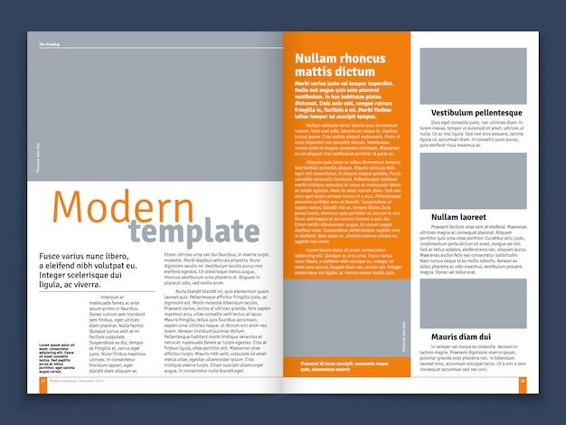 Disposizione moderna di vettore del giornale o della rivista con i luoghi modulari di costruzione e di immagine del testo Vettore Premium