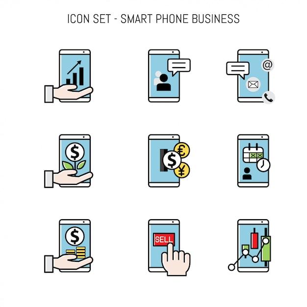 Disposizione piana della raccolta dell'icona di affari piana Vettore Premium
