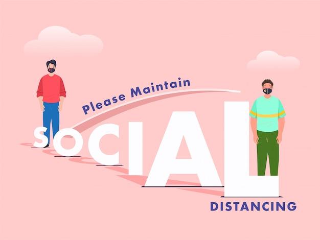 Distanza di misurazione dell'uomo del fumetto e del testo sociale della carta tagliata dall'altra persona Vettore Premium