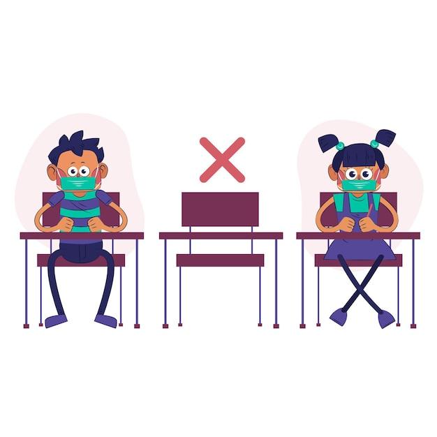 Distanza sociale a scuola Vettore gratuito