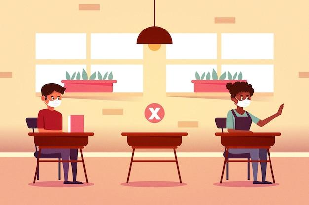 Distanziamento sociale a scuola Vettore gratuito