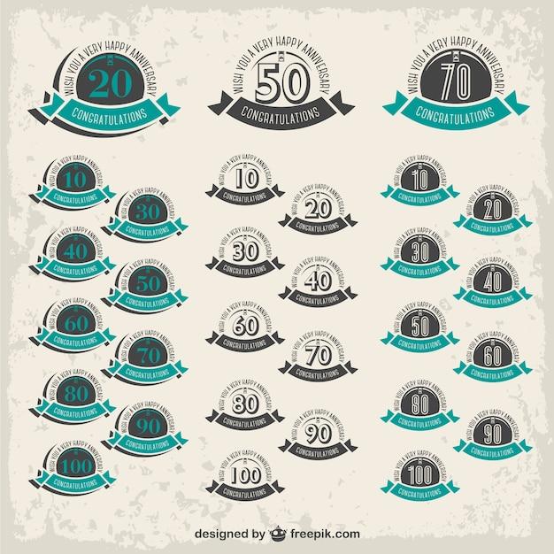 Distintivi anniversary collection gratuito Vettore gratuito