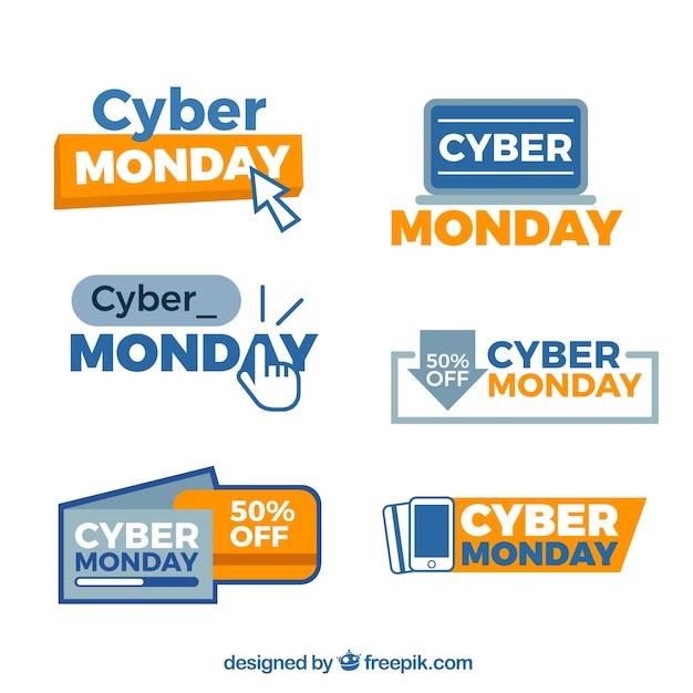 Distintivi creativi di lunedi 'cyber monday Vettore gratuito