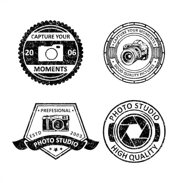 Distintivi d'epoca della fotografia Vettore Premium