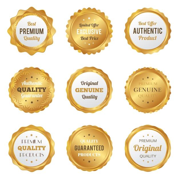 Distintivi d'oro di lusso e etichette prodotto di qualità premium Vettore Premium