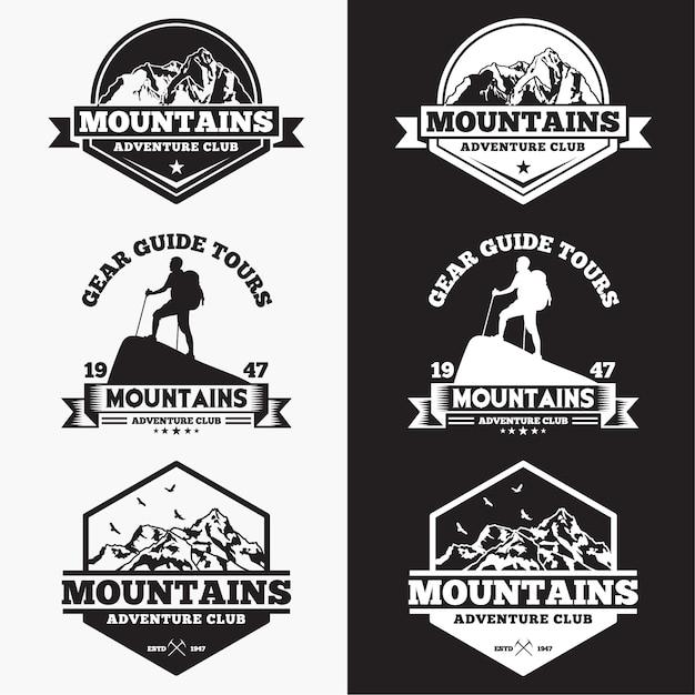 Distintivi delle montagne Vettore Premium