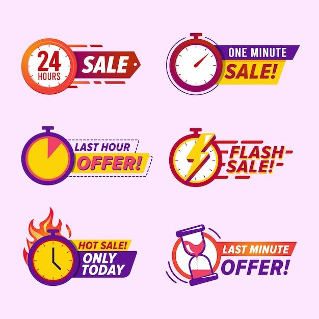 Distintivi di conto alla rovescia di vendita Vettore Premium