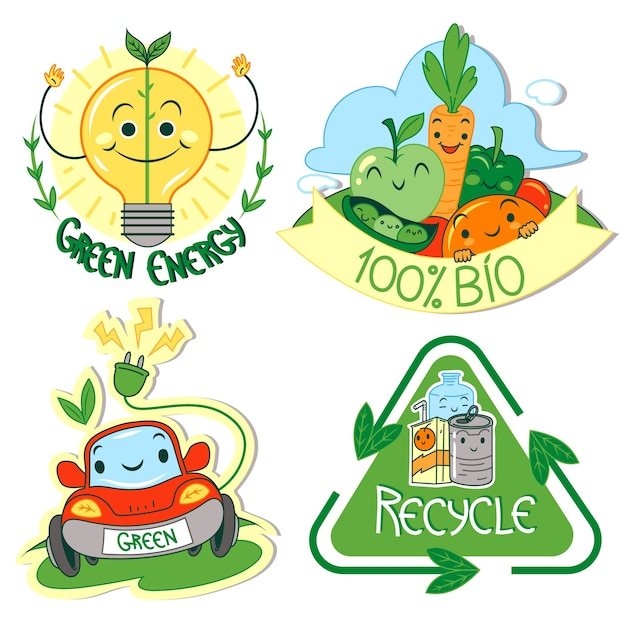 Distintivi di ecologia design disegnato a mano Vettore gratuito